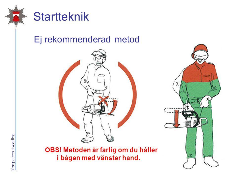 Kompetensutveckling Startteknik 3.Med sågen i handen Fatta bågen med höger hand. Håll sågen med svärdet riktat åt höger. Fatta med vänster hand i star