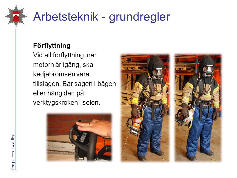 Kompetensutveckling Arbetsteknik - grundregler Förflyttning Vid all förflyttning, när motorn är igång, ska kedjebromsen vara tillslagen. Bär sågen i b