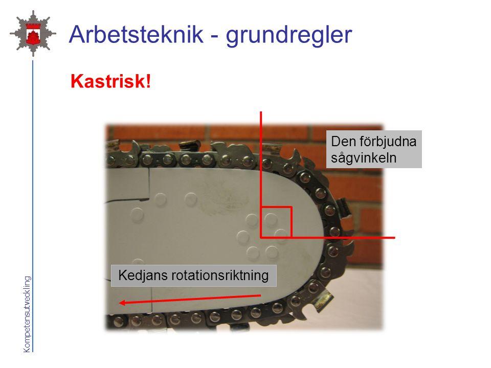Kompetensutveckling Arbetsteknik - grundregler Den förbjudna sågvinkeln Kedjans rotationsriktning Kastrisk!