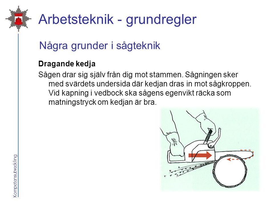 Kompetensutveckling Arbetsteknik - grundregler Dragande kedja Sågen drar sig själv från dig mot stammen. Sågningen sker med svärdets undersida där ked