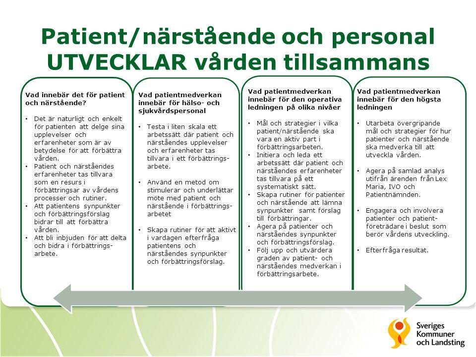 Patient/närstående och personal UTVECKLAR vården tillsammans Vad patientmedverkan innebär för hälso- och sjukvårdspersonal Testa i liten skala ett arb