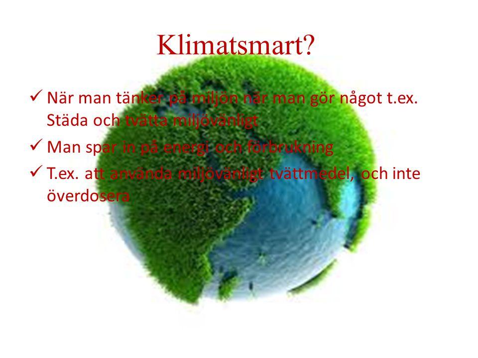 Klimatsmart? När man tänker på miljön när man gör något t.ex. Städa och tvätta miljövänligt Man spar in på energi och förbrukning T.ex. att använda mi