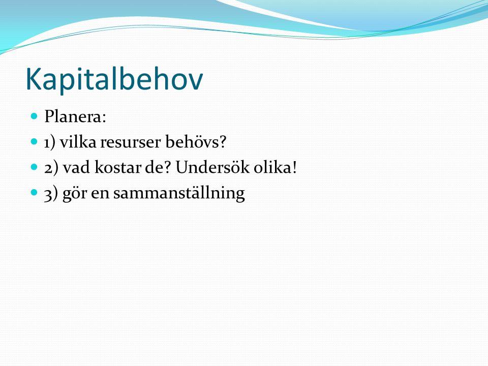 Kapitalbehov Planera: 1) vilka resurser behövs.2) vad kostar de.