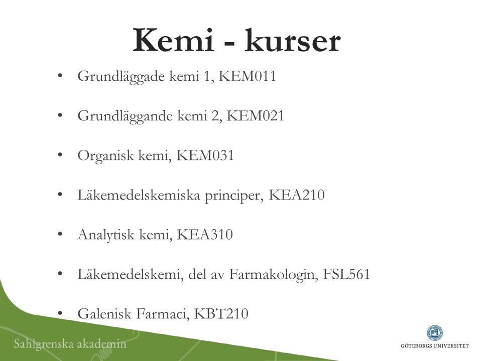 Kemi - kurser Grundläggade kemi 1, KEM011 Grundläggande kemi 2, KEM021 Organisk kemi, KEM031 Läkemedelskemiska principer, KEA210 Analytisk kemi, KEA31