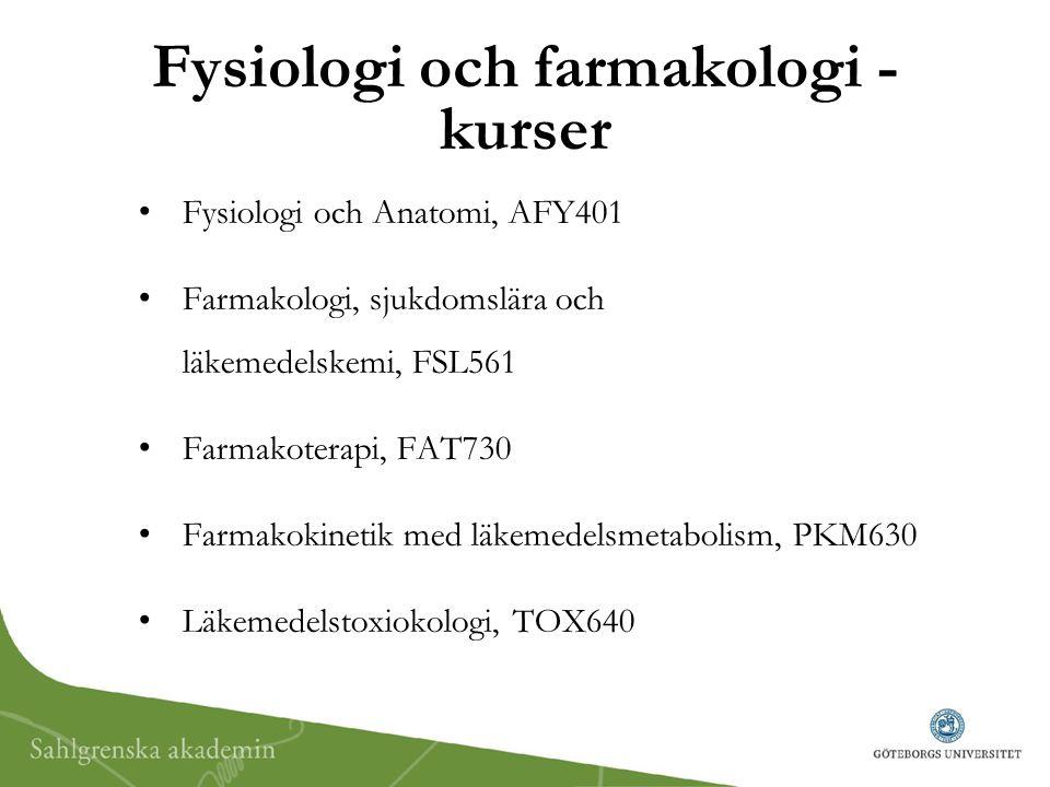 Fysiologi och farmakologi - kurser Fysiologi och Anatomi, AFY401 Farmakologi, sjukdomslära och läkemedelskemi, FSL561 Farmakoterapi, FAT730 Farmakokin