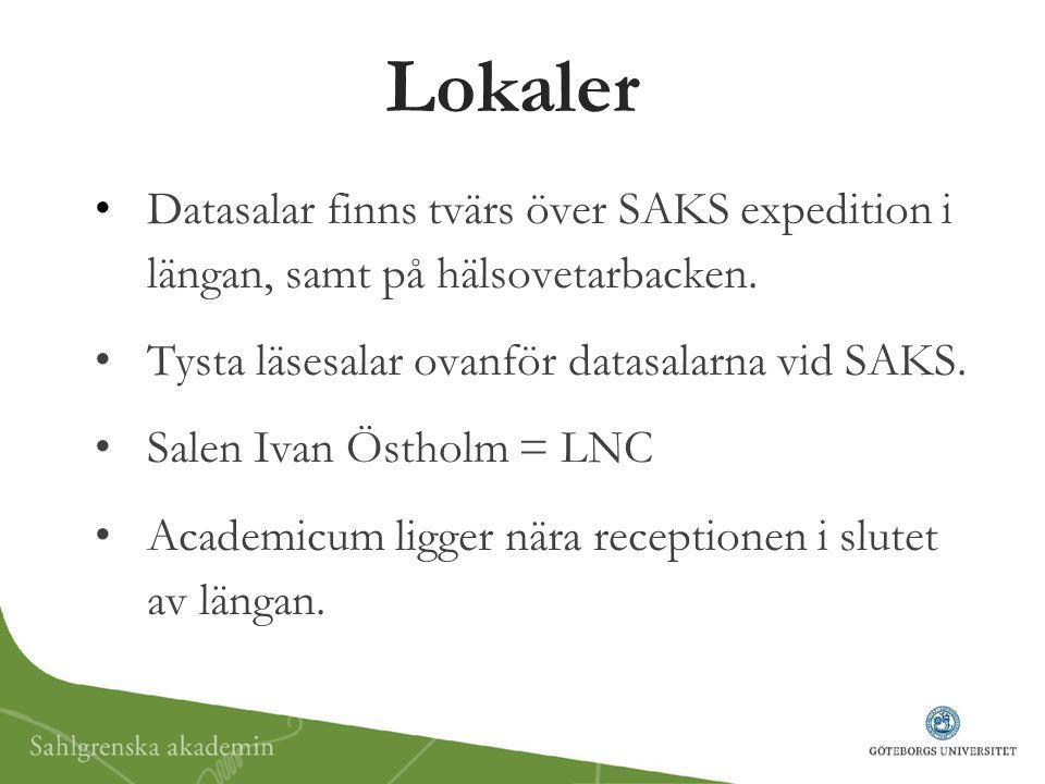 Lokaler Datasalar finns tvärs över SAKS expedition i längan, samt på hälsovetarbacken. Tysta läsesalar ovanför datasalarna vid SAKS. Salen Ivan Östhol