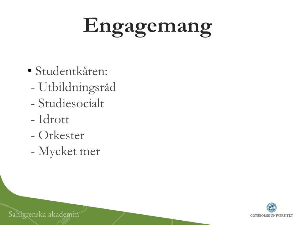 Engagemang Studentkåren: - Utbildningsråd - Studiesocialt - Idrott - Orkester - Mycket mer