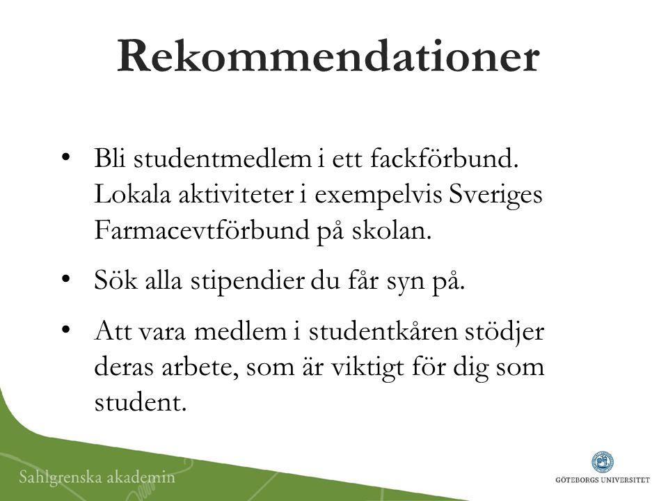 Rekommendationer Bli studentmedlem i ett fackförbund. Lokala aktiviteter i exempelvis Sveriges Farmacevtförbund på skolan. Sök alla stipendier du får