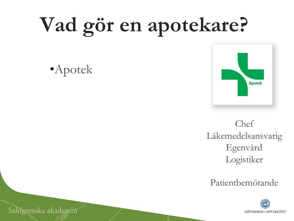 Vad gör en apotekare? Apotek Chef Läkemedelsansvarig Egenvård Logistiker Patientbemötande