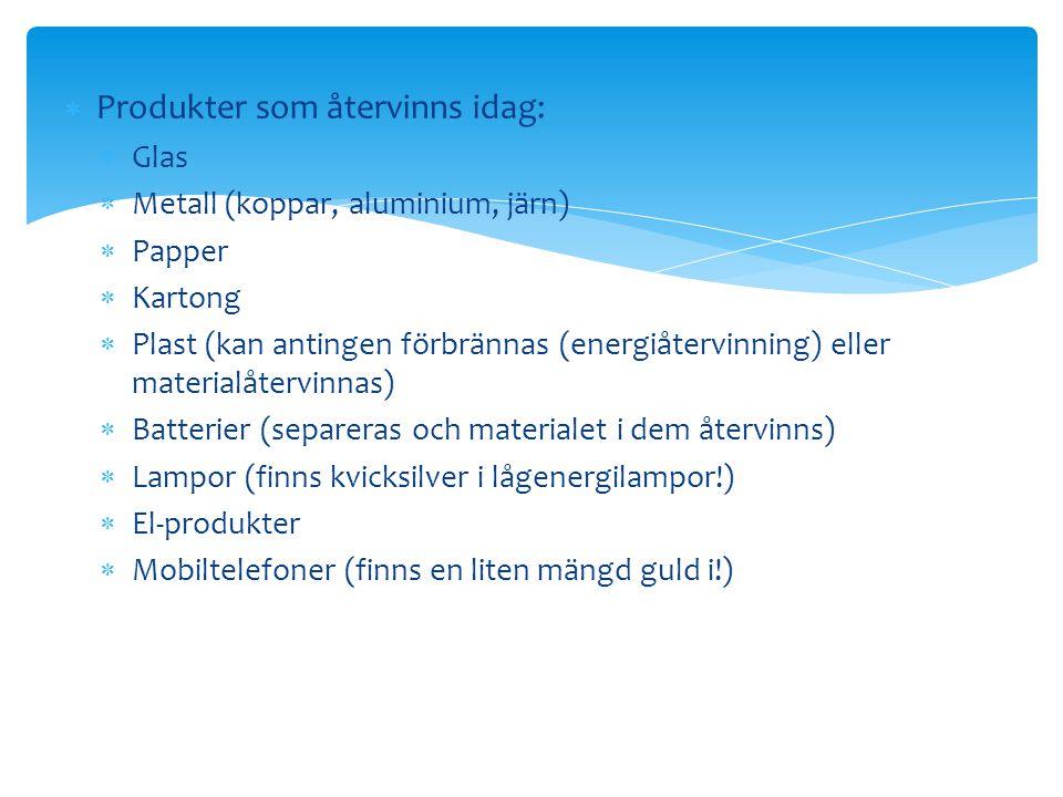  Produkter som återvinns idag:  Glas  Metall (koppar, aluminium, järn)  Papper  Kartong  Plast (kan antingen förbrännas (energiåtervinning) elle
