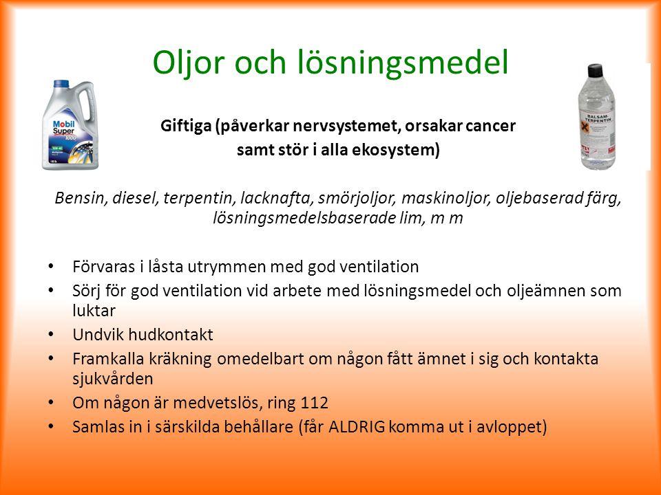 Oljor och lösningsmedel Giftiga (påverkar nervsystemet, orsakar cancer samt stör i alla ekosystem) Bensin, diesel, terpentin, lacknafta, smörjoljor, m