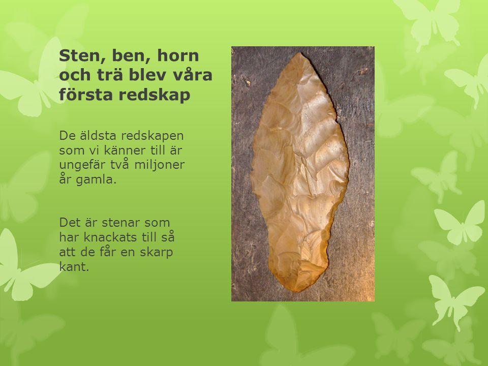Sten, ben, horn och trä blev våra första redskap De äldsta redskapen som vi känner till är ungefär två miljoner år gamla. Det är stenar som har knacka