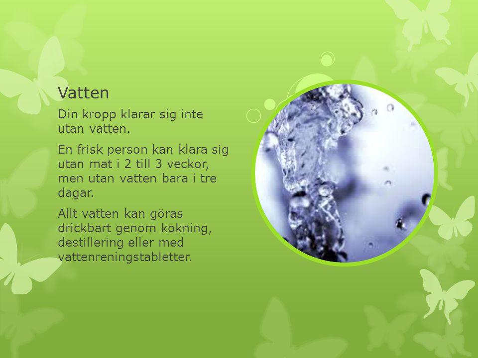 Vatten Din kropp klarar sig inte utan vatten. En frisk person kan klara sig utan mat i 2 till 3 veckor, men utan vatten bara i tre dagar. Allt vatten