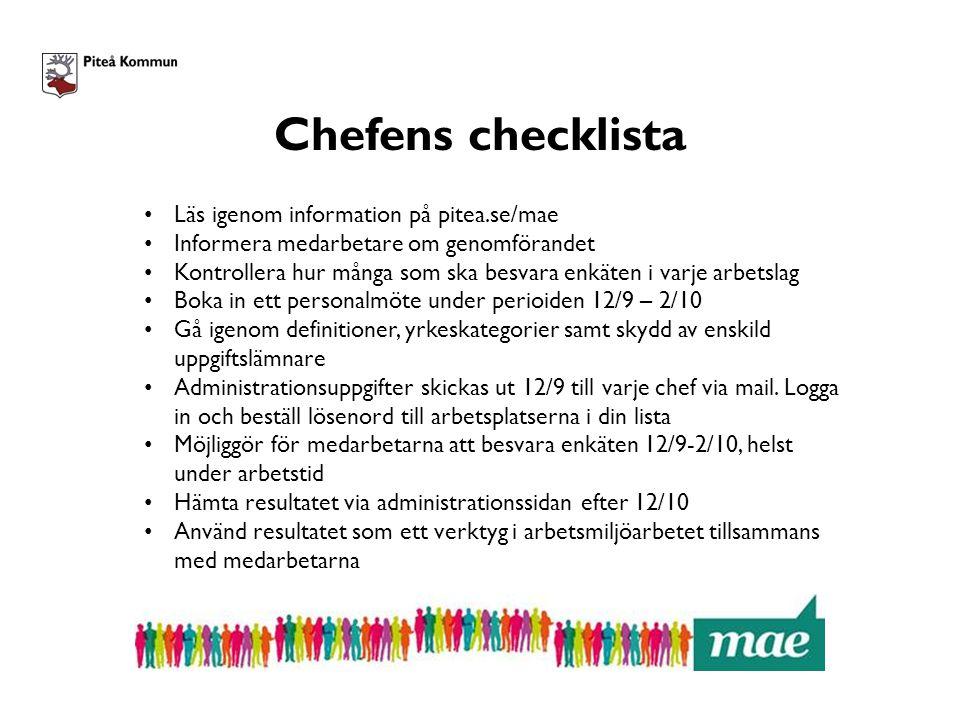Chefens checklista Läs igenom information på pitea.se/mae Informera medarbetare om genomförandet Kontrollera hur många som ska besvara enkäten i varje