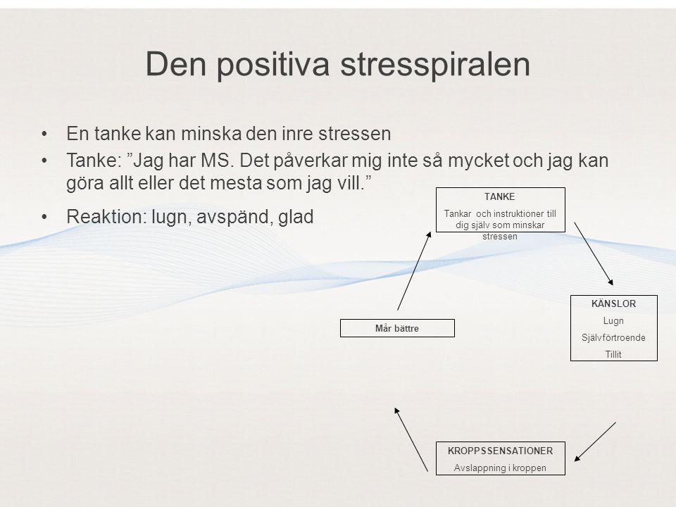 """Den positiva stresspiralen En tanke kan minska den inre stressen Tanke: """"Jag har MS. Det påverkar mig inte så mycket och jag kan göra allt eller det m"""