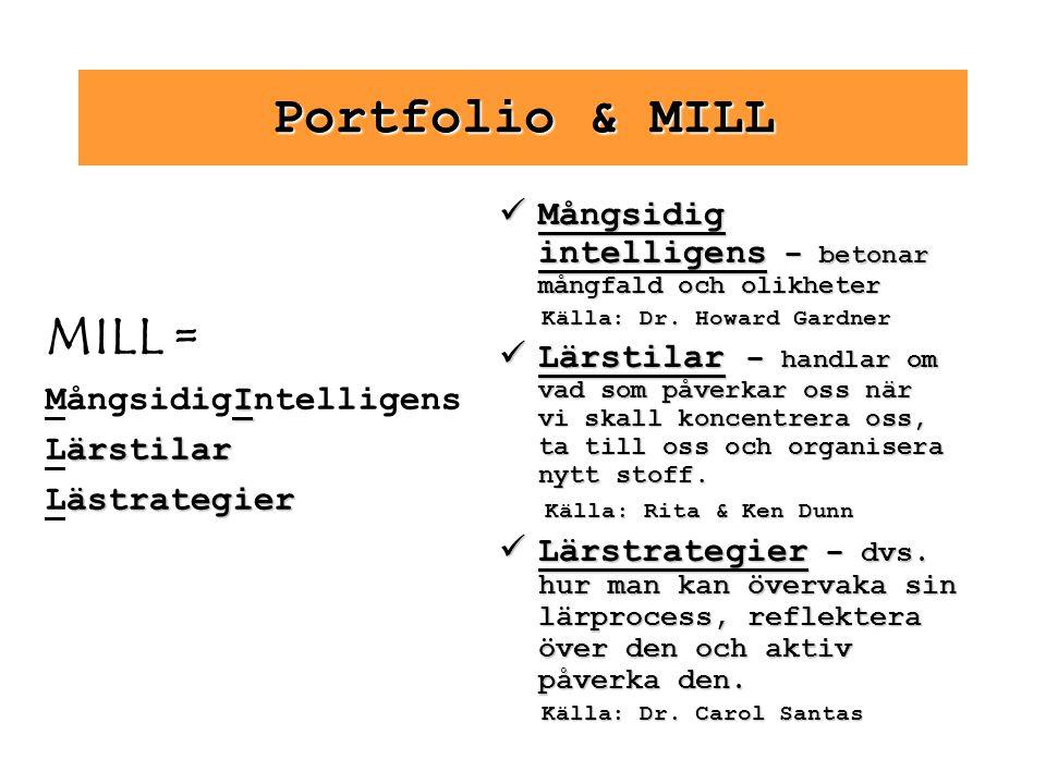 Portfolio & MILL MILL = I MångsidigIntelligens ärstilar Lärstilar ästrategier Lästrategier Mångsidig intelligens – betonar mångfald och olikheter Mång