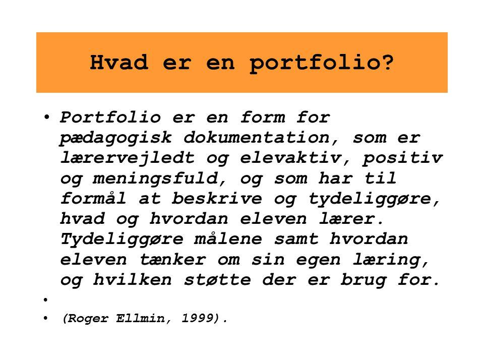 Hvad er en portfolio? Portfolio er en form for pædagogisk dokumentation, som er lærervejledt og elevaktiv, positiv og meningsfuld, og som har til form