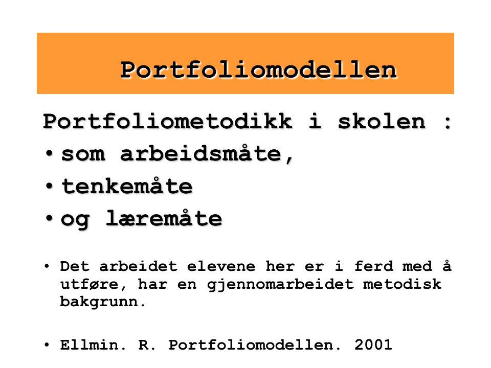 Portfoliomodellen Portfoliometodikk i skolen : som arbeidsmåte,som arbeidsmåte, tenkemåtetenkemåte og læremåteog læremåte Det arbeidet elevene her er