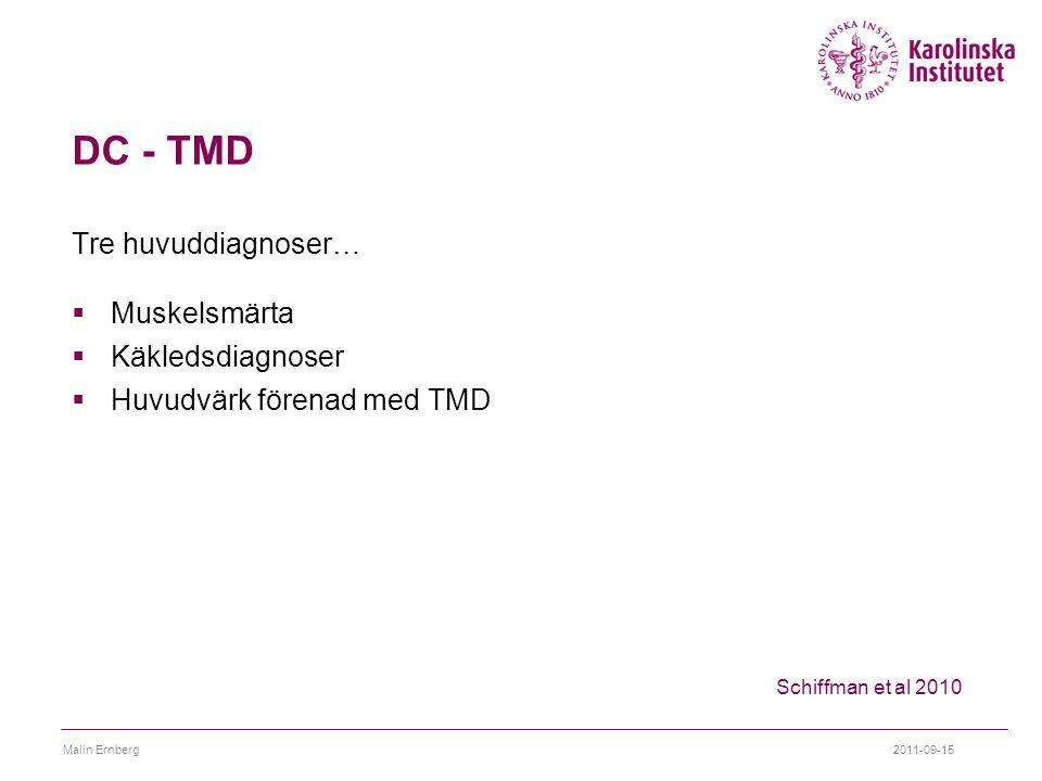 DC - TMD Tre huvuddiagnoser…  Muskelsmärta  Käkledsdiagnoser  Huvudvärk förenad med TMD 2011-09-15Malin Ernberg Schiffman et al 2010
