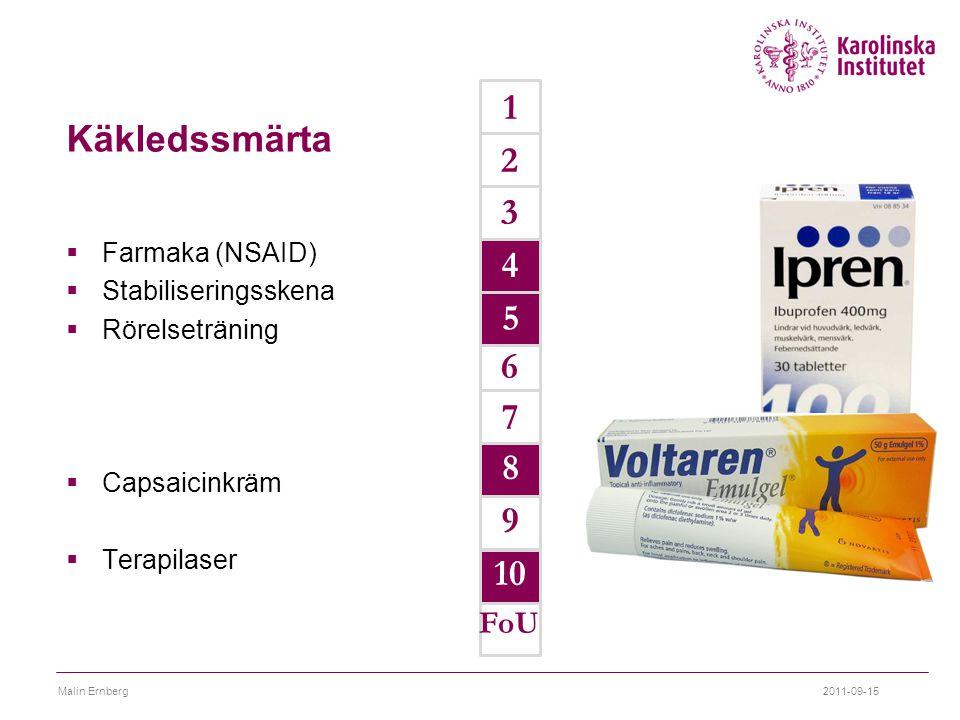 Käkledssmärta  Farmaka (NSAID)  Stabiliseringsskena  Rörelseträning  Capsaicinkräm  Terapilaser 9 7 6 1 2 3 4 5 FoU 2011-09-15Malin Ernberg 4 5 8