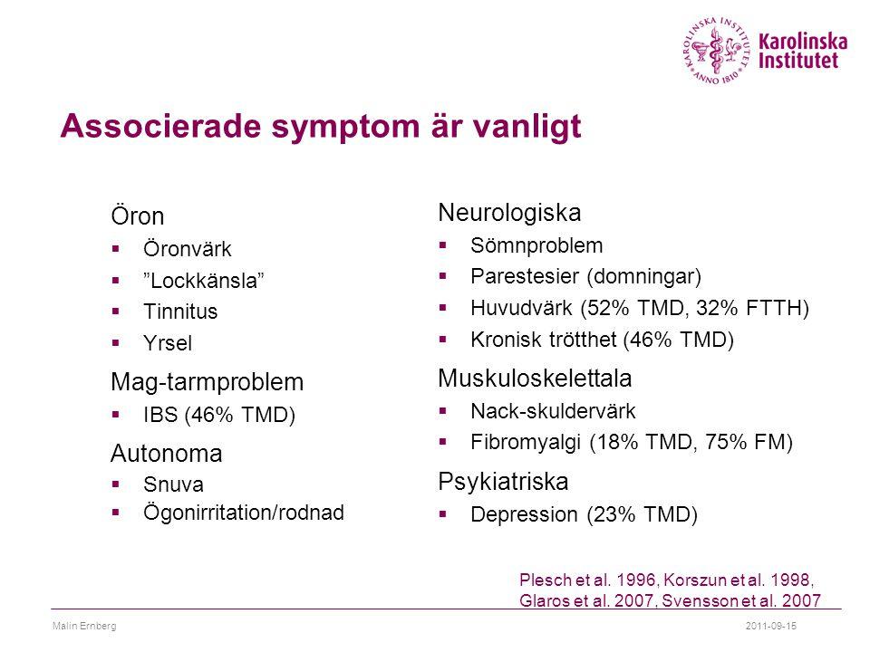 "Associerade symptom är vanligt Öron  Öronvärk  ""Lockkänsla""  Tinnitus  Yrsel Mag-tarmproblem  IBS (46% TMD) Autonoma  Snuva  Ögonirritation/rod"