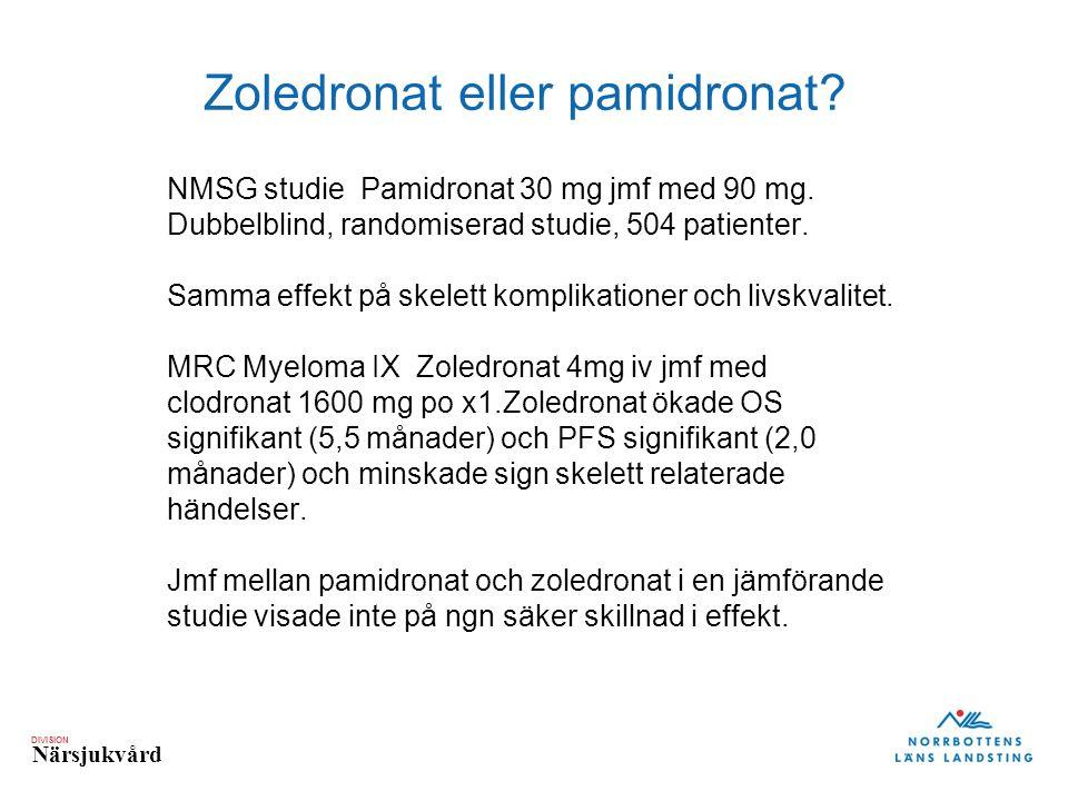 DIVISION Närsjukvård Zoledronat eller pamidronat? NMSG studie Pamidronat 30 mg jmf med 90 mg. Dubbelblind, randomiserad studie, 504 patienter. Samma e