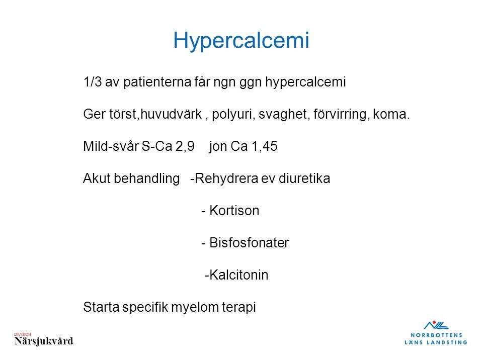 DIVISION Närsjukvård Hypercalcemi 1/3 av patienterna får ngn ggn hypercalcemi Ger törst,huvudvärk, polyuri, svaghet, förvirring, koma. Mild-svår S-Ca