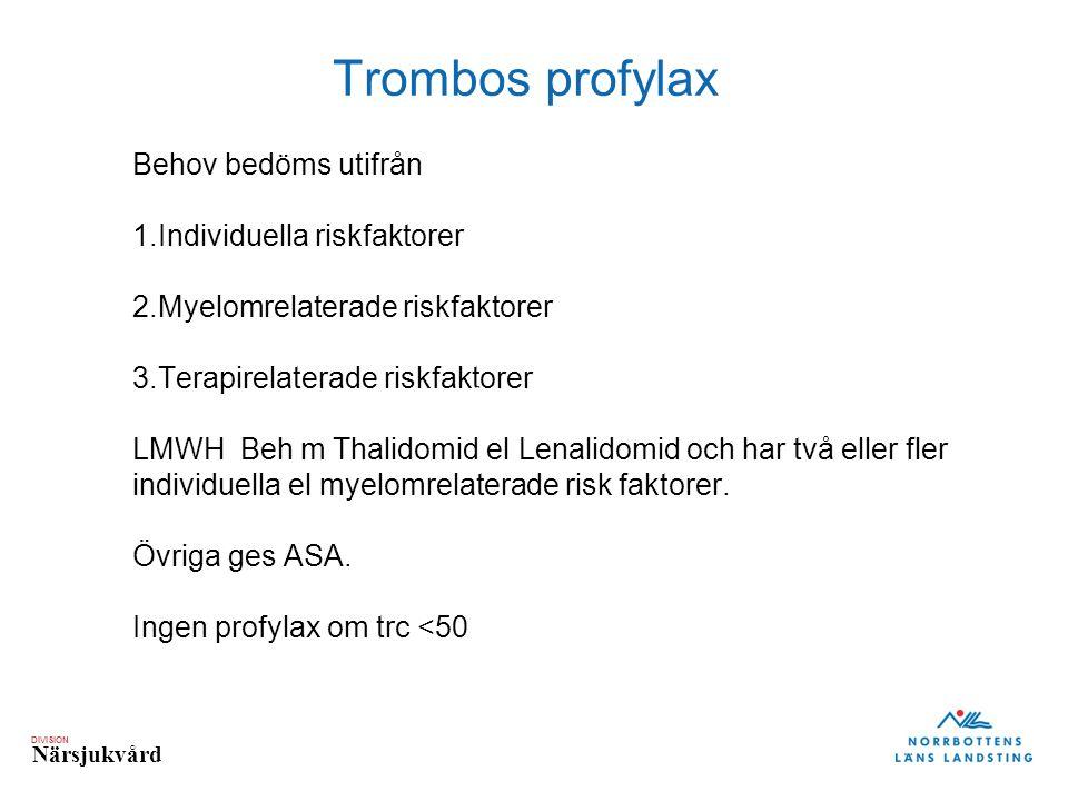DIVISION Närsjukvård Trombos profylax Behov bedöms utifrån 1.Individuella riskfaktorer 2.Myelomrelaterade riskfaktorer 3.Terapirelaterade riskfaktorer
