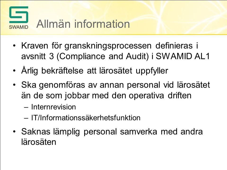 Viktiga dokument Ett normativt dokument –SWAMID Identity Assurance Level 1 Profile (SWAMID AL1) Rapportera granskningsresultat –Checklista för AL1 Stöddokument finns i SWAMIDs Wiki –FAQ AL1 –Exempelmallar http://www.swamid.se/policy/swamid-2.0.html https://wiki.swamid.se/display/SWAMID/SWAMID+Identity+Assurance+Level+1+Profile
