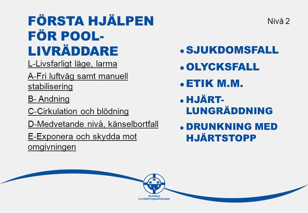 L-LIVSFARLIGT LÄGE, LARMA Nivå 2 Bedömning av läget Överblicka platsen, förhindra nya olyckor, leta reda på de som varit inblandade.