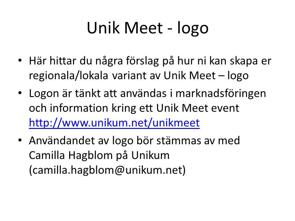 Unik Meet - logo Här hittar du några förslag på hur ni kan skapa er regionala/lokala variant av Unik Meet – logo Logon är tänkt att användas i marknadsföringen och information kring ett Unik Meet event http://www.unikum.net/unikmeet http://www.unikum.net/unikmeet Användandet av logo bör stämmas av med Camilla Hagblom på Unikum (camilla.hagblom@unikum.net)
