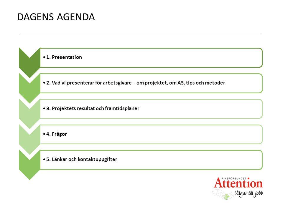 DAGENS AGENDA 1. Presentation2. Vad vi presenterar för arbetsgivare – om projektet, om AS, tips och metoder3. Projektets resultat och framtidsplaner4.