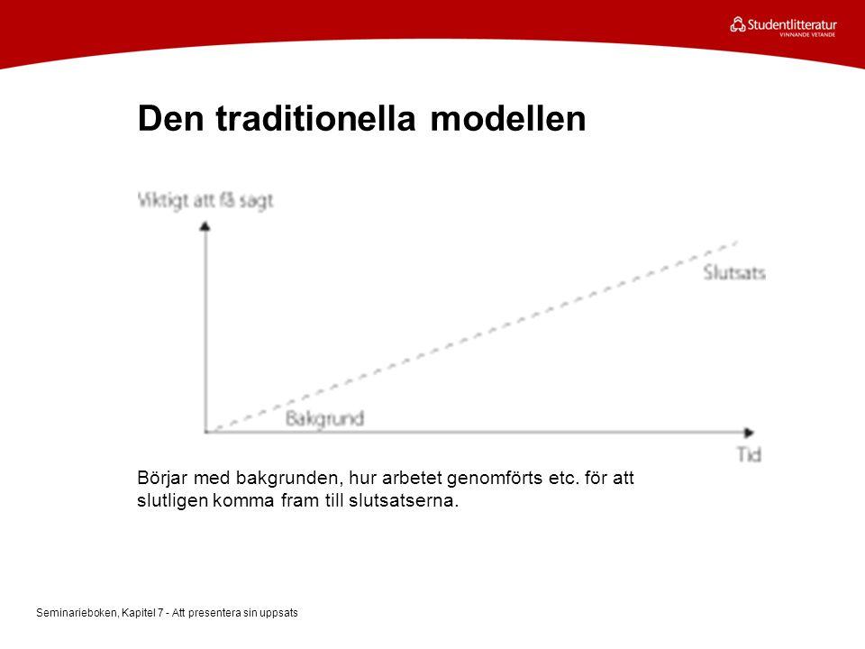 Den traditionella modellen Börjar med bakgrunden, hur arbetet genomförts etc. för att slutligen komma fram till slutsatserna. Seminarieboken, Kapitel