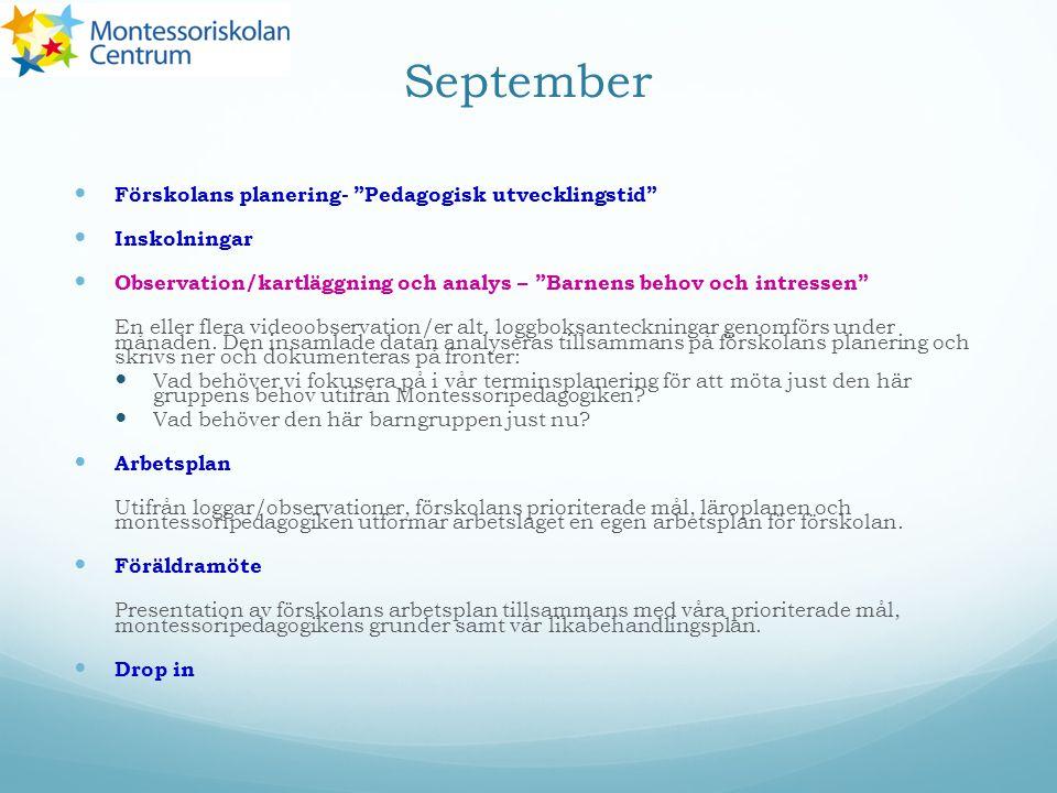 """September Förskolans planering- """"Pedagogisk utvecklingstid"""" Inskolningar Observation/kartläggning och analys – """"Barnens behov och intressen"""" En eller"""