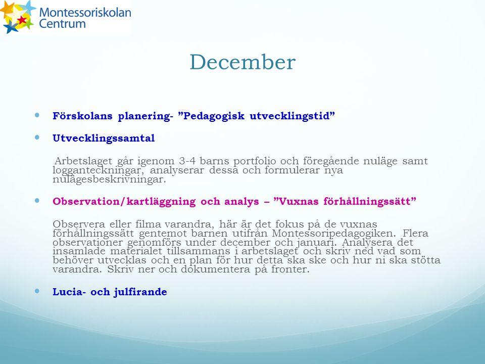 December Förskolans planering- Pedagogisk utvecklingstid Utvecklingssamtal Arbetslaget går igenom 3-4 barns portfolio och föregående nuläge samt logganteckningar, analyserar dessa och formulerar nya nulägesbeskrivningar.