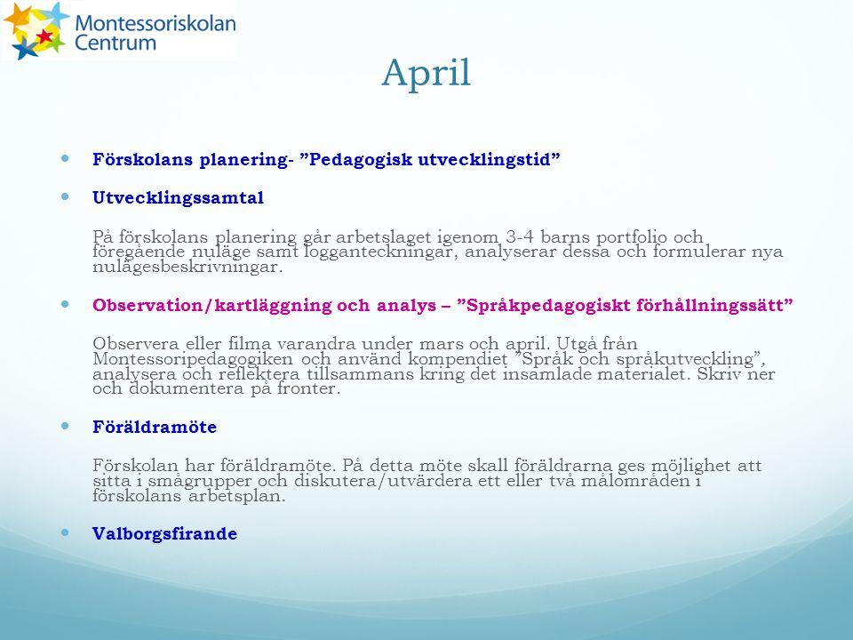 """April Förskolans planering- """"Pedagogisk utvecklingstid"""" Utvecklingssamtal På förskolans planering går arbetslaget igenom 3-4 barns portfolio och föreg"""