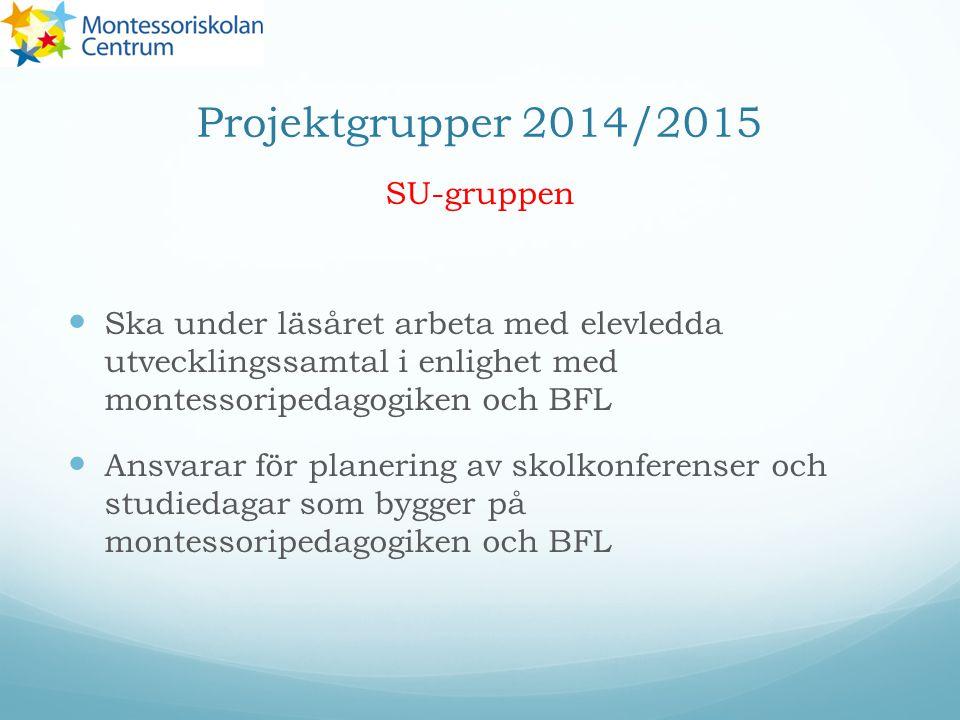 Projektgrupper 2014/2015 SU-gruppen Ska under läsåret arbeta med elevledda utvecklingssamtal i enlighet med montessoripedagogiken och BFL Ansvarar för planering av skolkonferenser och studiedagar som bygger på montessoripedagogiken och BFL