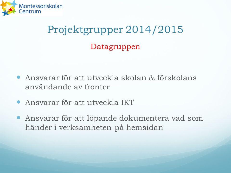 Projektgrupper 2014/2015 Datagruppen Ansvarar för att utveckla skolan & förskolans användande av fronter Ansvarar för att utveckla IKT Ansvarar för att löpande dokumentera vad som händer i verksamheten på hemsidan