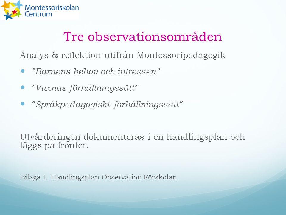 """Tre observationsområden Analys & reflektion utifrån Montessoripedagogik """"Barnens behov och intressen"""" """"Vuxnas förhållningssätt"""" """"Språkpedagogiskt förh"""