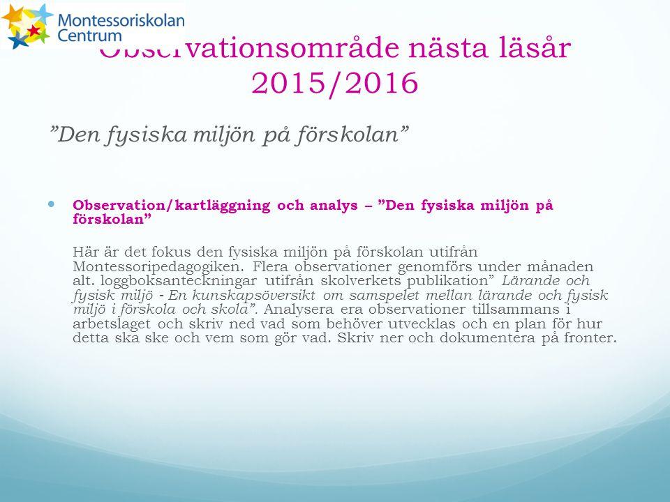 """Observationsområde nästa läsår 2015/2016 """"Den fysiska miljön på förskolan"""" Observation/kartläggning och analys – """"Den fysiska miljön på förskolan"""" Här"""
