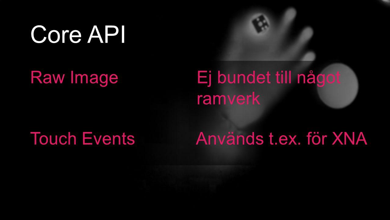 Core API Raw Image Används t.ex. för XNATouch Events Ej bundet till något ramverk