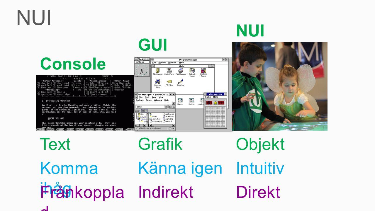 Text Grafik Objekt Komma ihåg Känna igen Intuitiv Frånkoppla d Indirekt Direkt Console GUI NUI