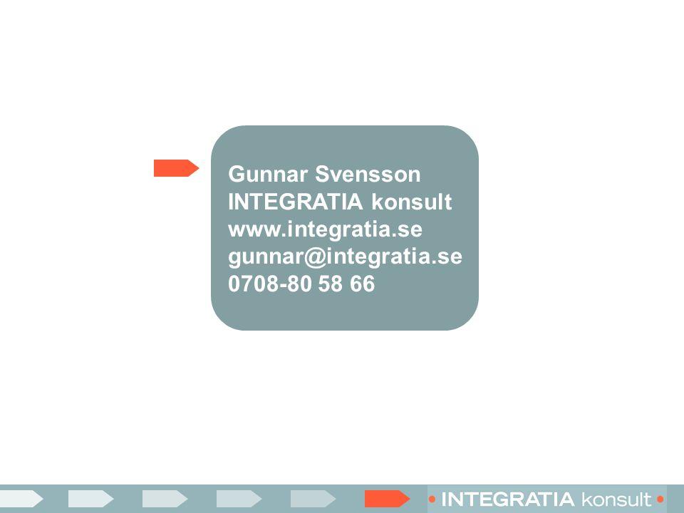Gunnar Svensson INTEGRATIA konsult www.integratia.se gunnar@integratia.se 0708-80 58 66