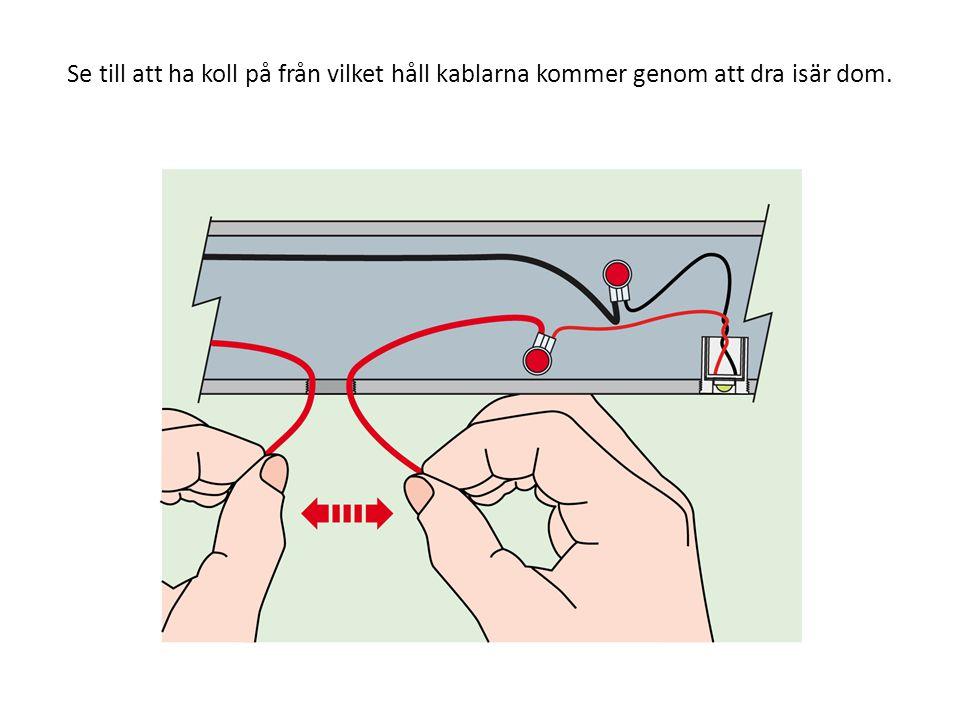 Se till att ha koll på från vilket håll kablarna kommer genom att dra isär dom.