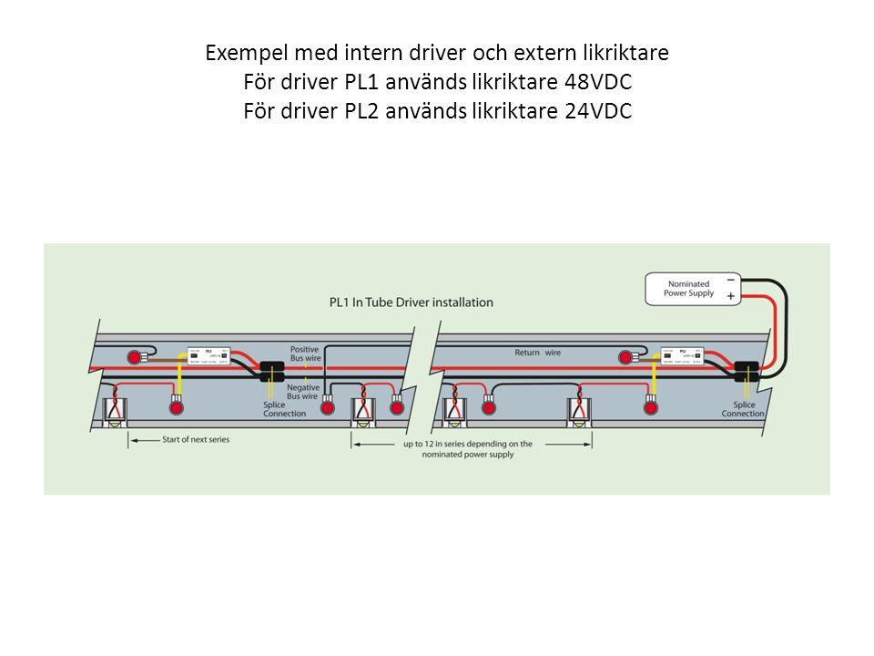 Exempel med intern driver och extern likriktare För driver PL1 används likriktare 48VDC För driver PL2 används likriktare 24VDC