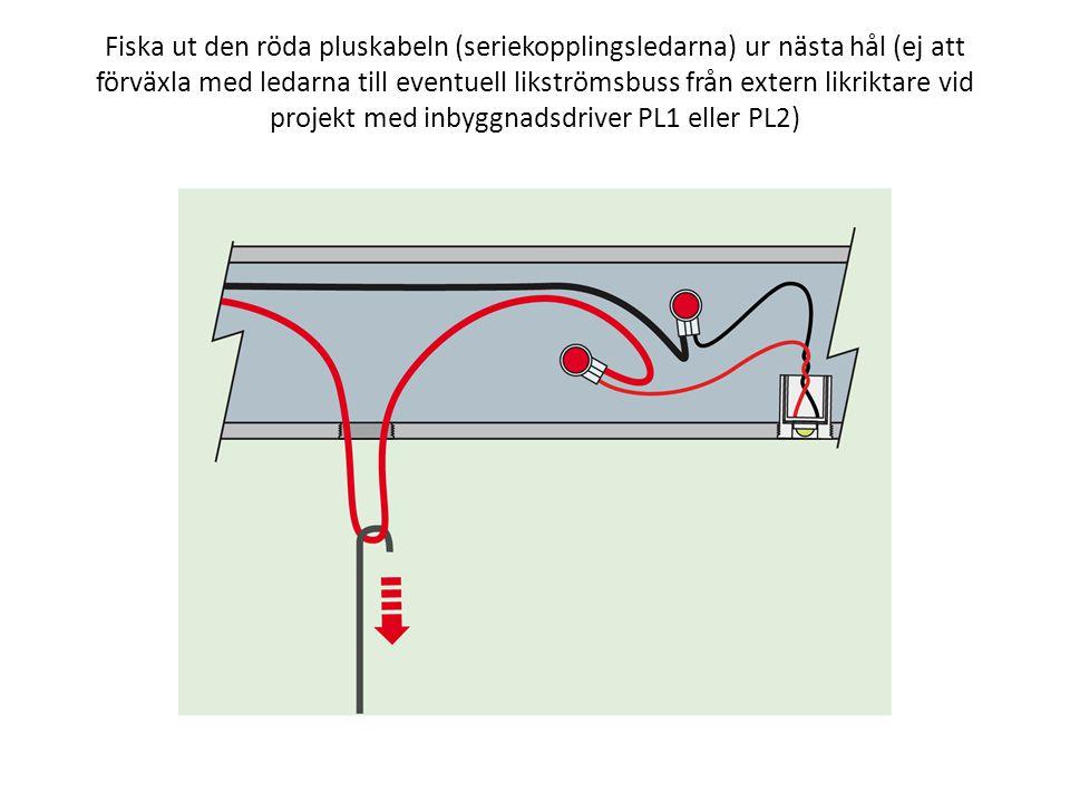 Fiska ut den röda pluskabeln (seriekopplingsledarna) ur nästa hål (ej att förväxla med ledarna till eventuell likströmsbuss från extern likriktare vid projekt med inbyggnadsdriver PL1 eller PL2)