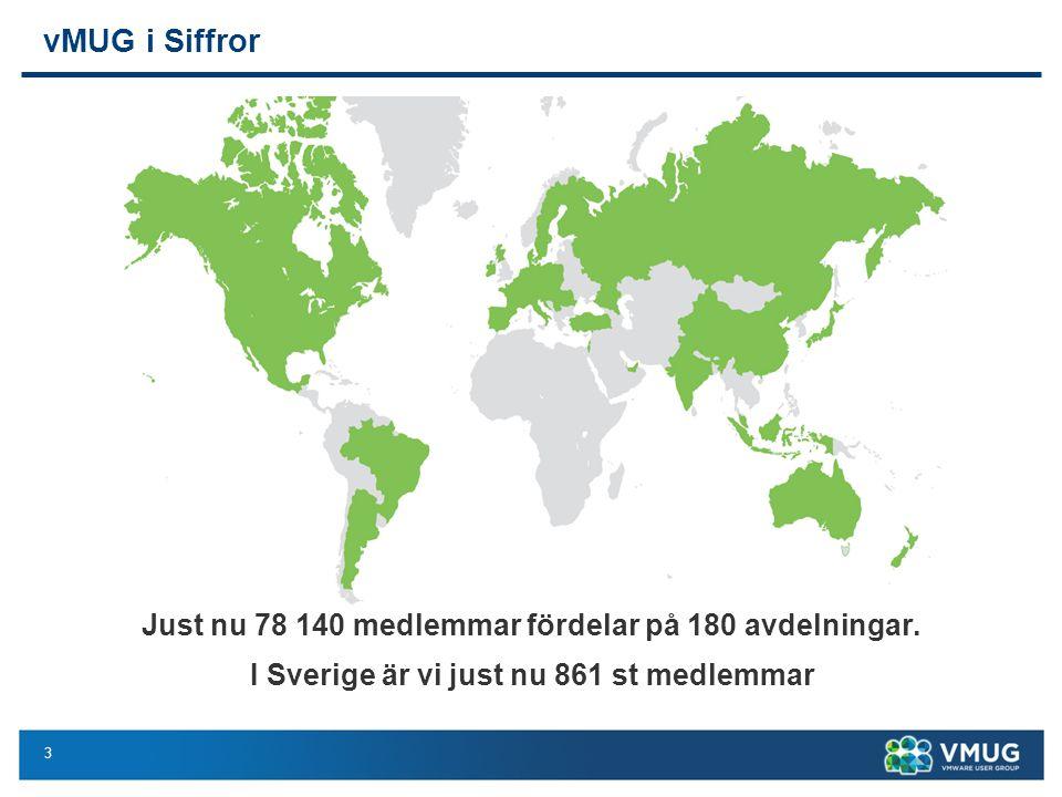 3 vMUG i Siffror Just nu 78 140 medlemmar fördelar på 180 avdelningar. I Sverige är vi just nu 861 st medlemmar