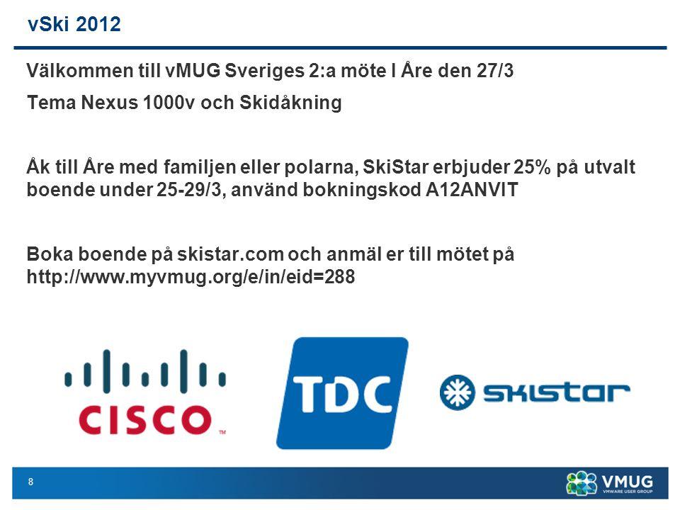 8 vSki 2012 Välkommen till vMUG Sveriges 2:a möte I Åre den 27/3 Tema Nexus 1000v och Skidåkning Åk till Åre med familjen eller polarna, SkiStar erbjuder 25% på utvalt boende under 25-29/3, använd bokningskod A12ANVIT Boka boende på skistar.com och anmäl er till mötet på http://www.myvmug.org/e/in/eid=288