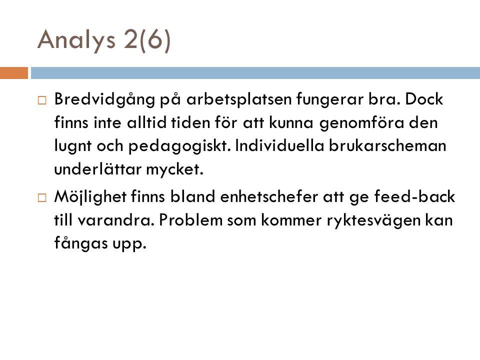 Analys 2(6)  Bredvidgång på arbetsplatsen fungerar bra.