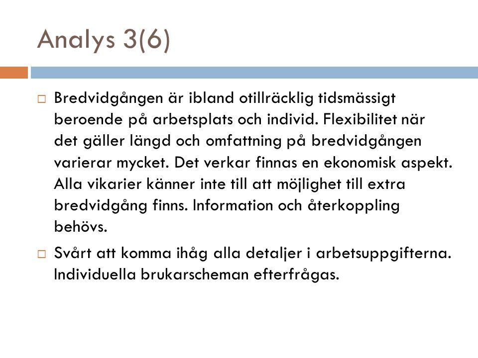Analys 3(6)  Bredvidgången är ibland otillräcklig tidsmässigt beroende på arbetsplats och individ. Flexibilitet när det gäller längd och omfattning p
